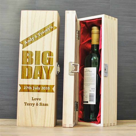 Personalised Wooden Wine Box Bottle Holder With Red Satin