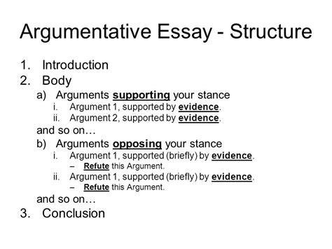 Argumentative Essay Introduction by Argumentative Essay Structure The Oscillation Band