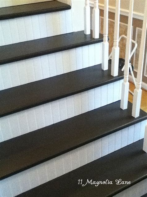 Stairs Without Banister Stair Redo With Painted Treads And Beadboard Risers 11