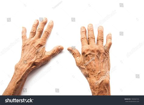 429203 the old man the hands of the old man on a white background stock photo