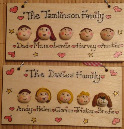 Handmade To Order - 5 character faces family sign wooden plaque shabby chic