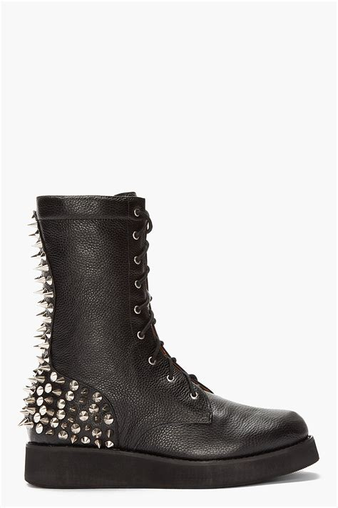 spiked mens boots jeffrey cbell black leather spiked reznorspk boots