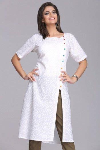 pattern of white kurti serene stylish self printed white cotton kurta with