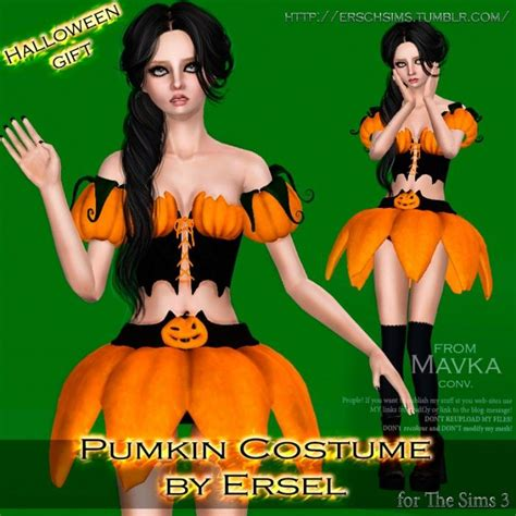 sims 4 halloween costumes pumkin costume by ersel sims 3 downloads cc caboodle