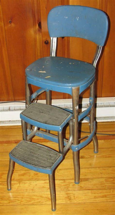 Industrial Metal Step Stool by Vintage Cosco Industrial Metal Step Stool Chair Blue Mid