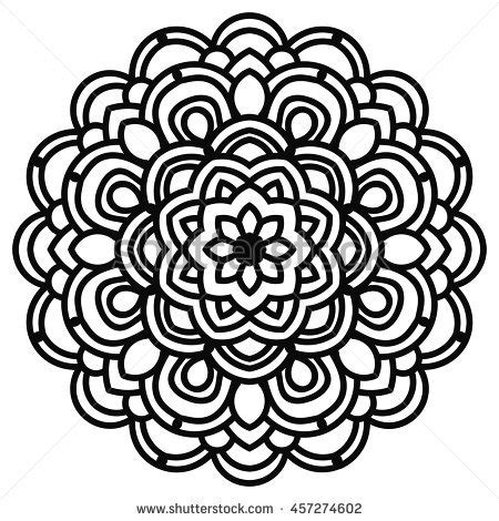 black outline flower closeup tribal mandala stock vector