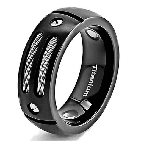 8mm men s black titanium ring wedding band with stainless