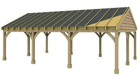 bay carport post beam green oak  douglas fir  pitch roof