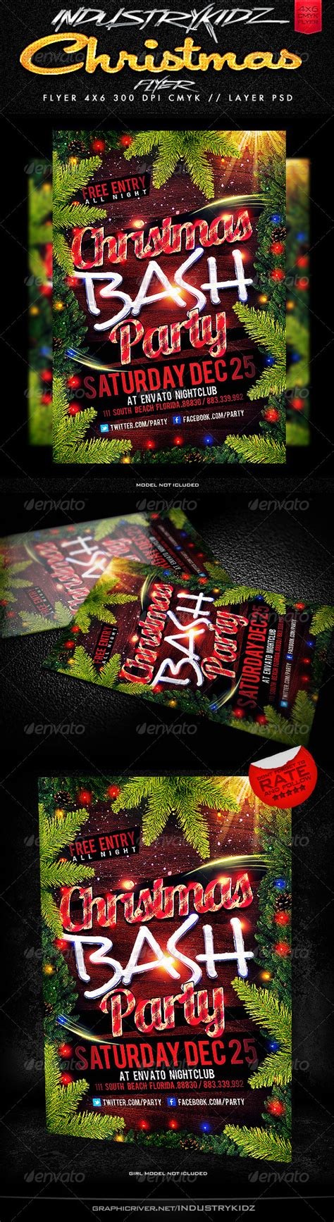 Christmas Party Flyer Templates By Industrykidz Graphicriver Graphicriver Event Flyer Template