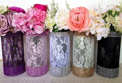 bridal shower table centerpieces lace and rhinestone covered glass vases wedding bridal