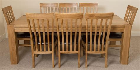 Solid Oak Dining Table And 8 Chairs Kuba Oak Dining Set 220cm 8 Harvard Chairs