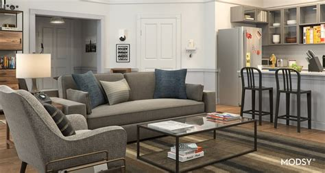 seinfeld inspired contemporary style living room    zoom background images