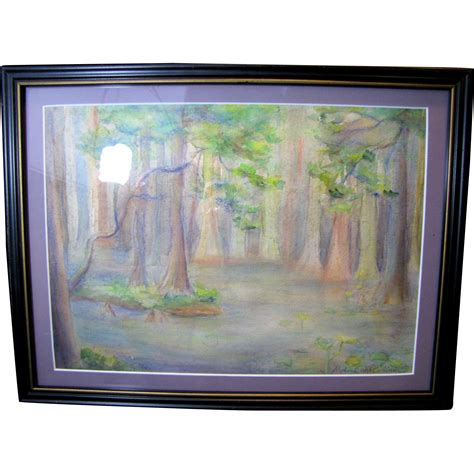 regional water color painting of bald cypress in the sw lands from faywrayantiques on ruby