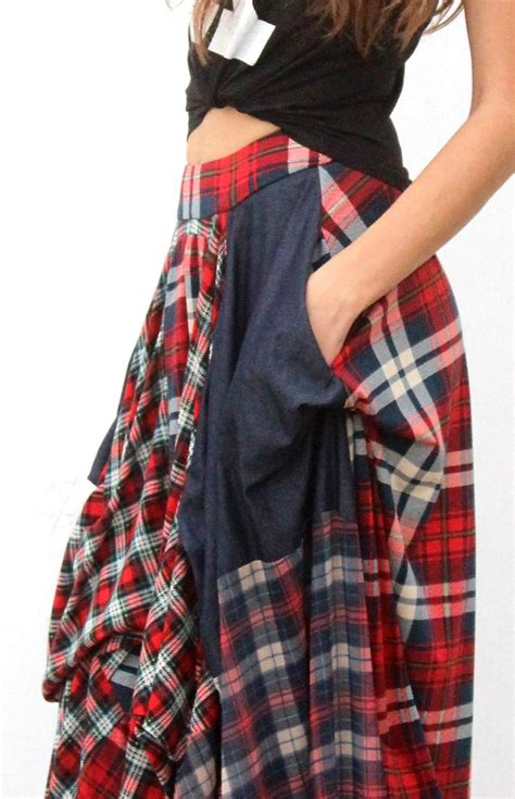 Patchwork Skirt - patchwork plaid skirt partial to plaid