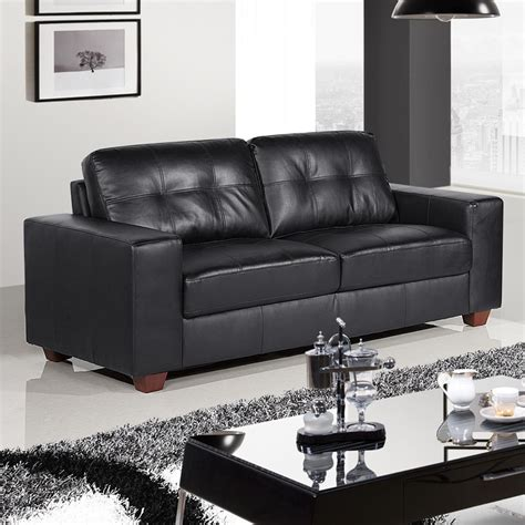 Black Leather Sofas Strada Black Leather Sofa Suite Collection