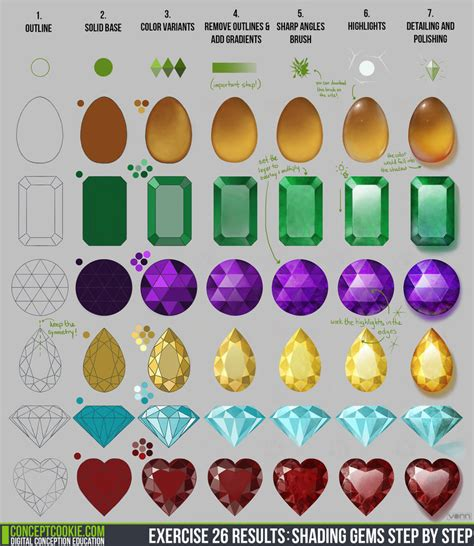 game design exercises exercise 26 results shading gems step by step by