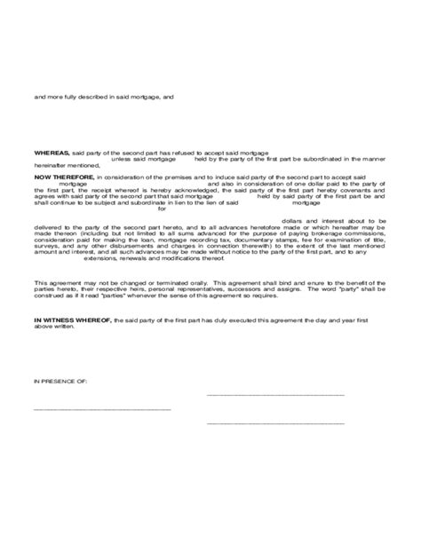 subordination agreement template subordination agreement of mortgage free