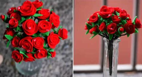 membuat buket bunga mawar  kain flanel mudah