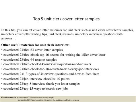 Cover Letter For Unit Position Top 5 Unit Clerk Cover Letter Sles