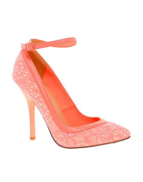 coral high heels asos pout pointed high heels in lyst