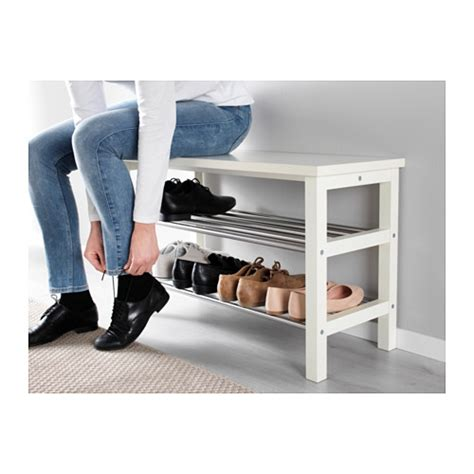 shoe storage bench white tjusig bench with shoe storage white 81x50 cm ikea