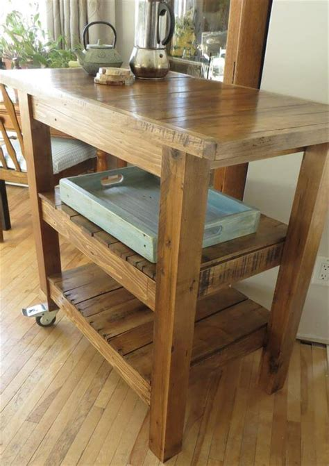 diy pallet made kitchen island table 101 pallets