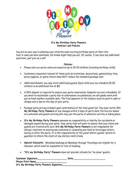 Party Planner Contract Template Google Search Blog Info Pinterest Event Planning Event Birthday Contract Template