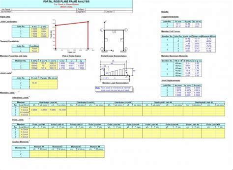 portal frame design xls frame portal and gable rigid plane frame analysis