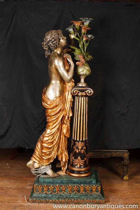 Italian Bronze Lifesize Maiden Lamp Light Statue Figurine
