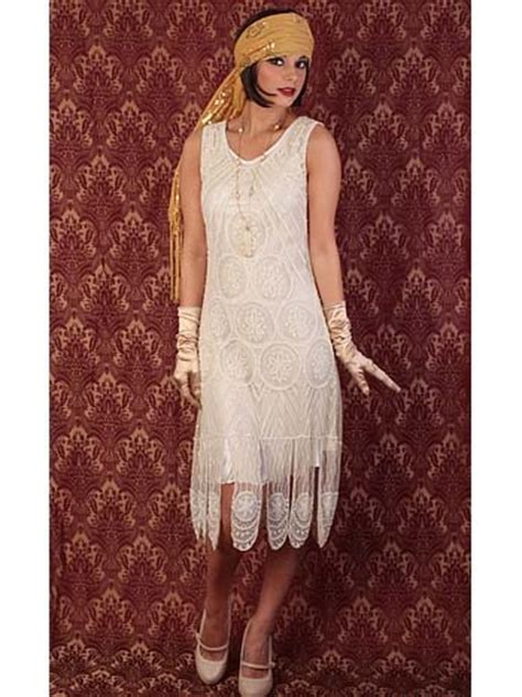 20s Reproduction Ivory Beaded Flapper Dress 1920s Style