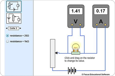 experiment with resistors resistance of a filament l experiment by focus educational software