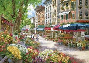Watercolor Flower Paintings - le march 233 des fleurs 224 paris en france sam park puzzle
