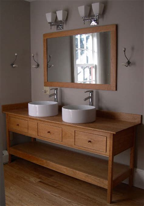 single apron open style vanity with three drawers