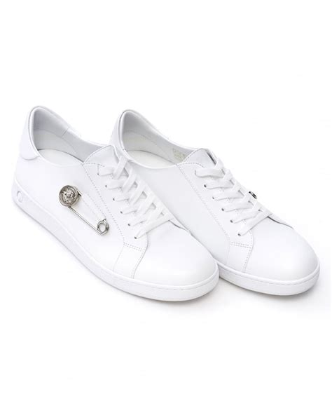 mens versace sneakers versace versus mens safety pin trainers white low top
