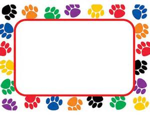 colorful paw prints tags labels etiquetas nombres etiquetas nombres