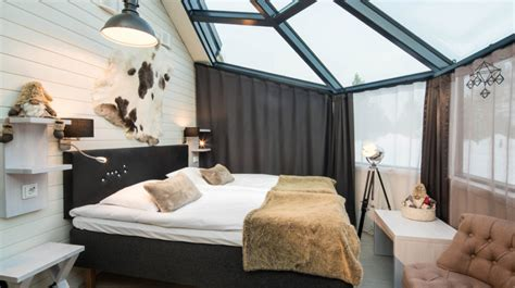 bedroom with glass roof santa s igloos arctic circle in santa claus village