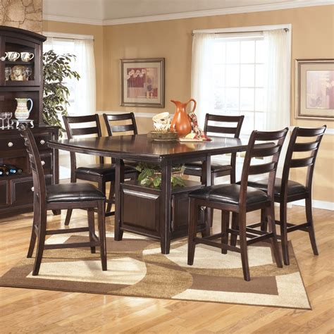 dark dining room table signature design by ashley ridgley square dark brown