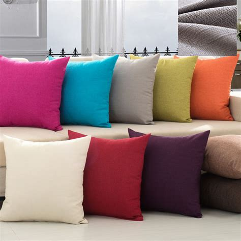 bantal sofa colorful solid color simple pillow covering linen cushion cover