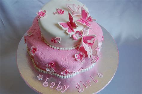 flower baby shower cakes customised cakes by jen pink and white butterflies and