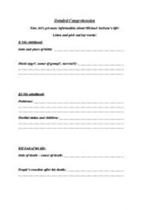 michael jackson biography worksheet pdf english worksheets michael jackson 180 s biography