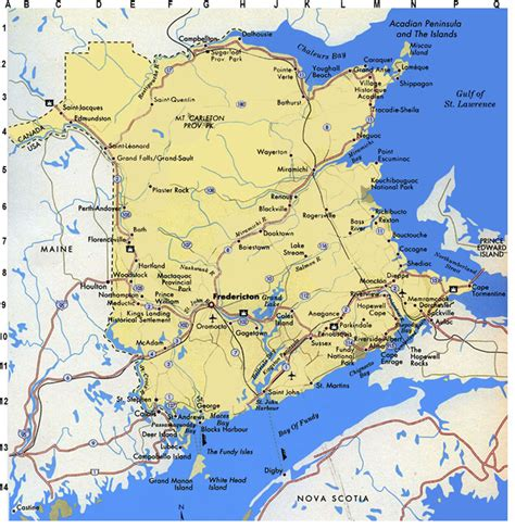 map of new and canada physical map of new brunswick canada