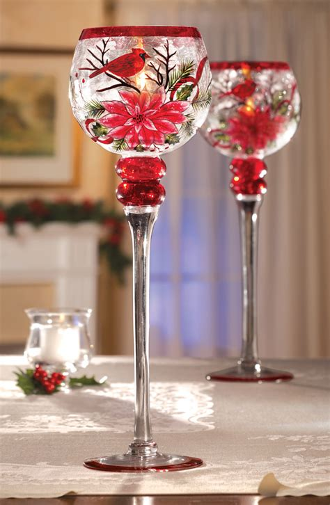collections etc cardinal poinsettia christmas stemmed