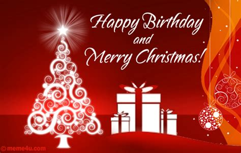 Merry And Happy Birthday Wishes Happy Birthday Greetinng Card Christmas Wish With Happy