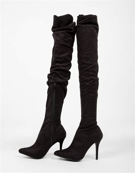 thigh high suede heel boots black suede boots black