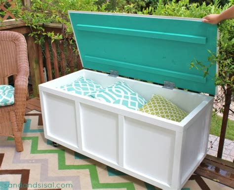 backyard storage box diy outdoor storage box bench sand and sisal