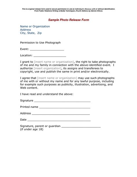 photography release form photography print release form google search