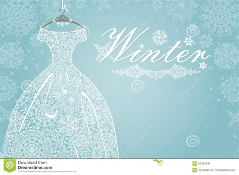 Wedding Winter Background by Winter Card Bridal Dress With Snowflake Lace Stock Photo