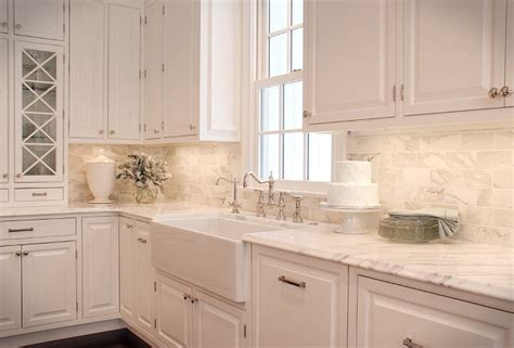 White Kitchen Backsplash Tile Ideas by White Carrara Subway Backsplash Tile Backsplashcom Kitchen