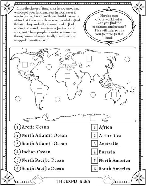 printable quiz continents and oceans find the oceans and continents page free printable
