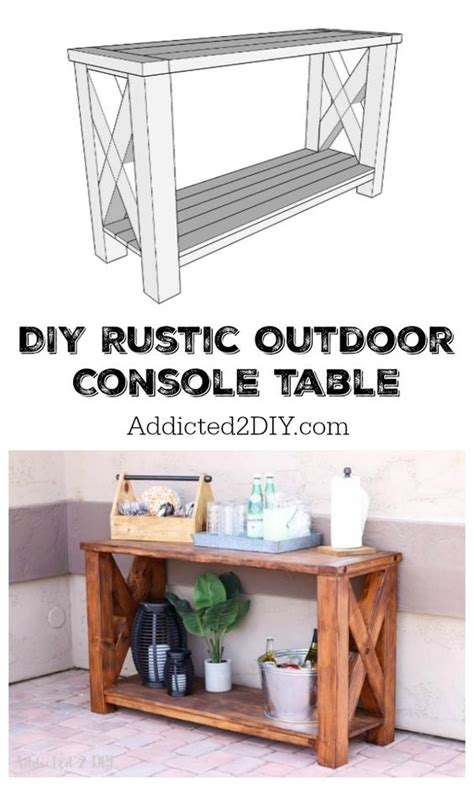 Outdoor Console Table With Storage Diy Rustic Outdoor Console Table Great Outdoors Challenge Decks Outdoor Storage And Pottery